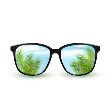 Black sunglasses with reflection of tropical nature sky with clouds. Isolated on white background.