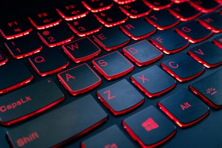 Gaming red keyboard with red button ledlight