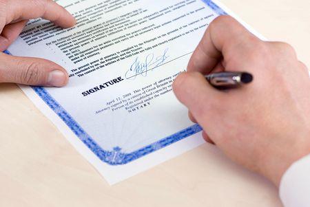 ペンの先端には、公証人の署名委任状、フォーカスです。