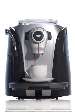 espresso machine and coffee cup on white background.
