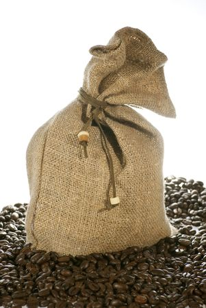 linen bag: linen bag and coffee beans. Isolated on white