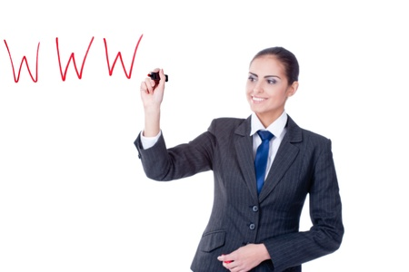 young businesswoman writing WWW on glass on white background photo