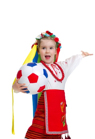 Euro 2012 fan - Little girl in traditional ukrainian clothes with ball photo