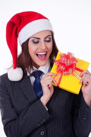 businesswoman wearing a santa photo