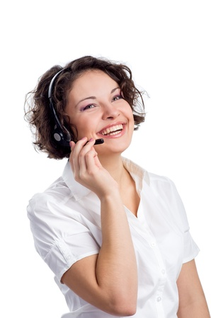 Female Operator of call center with headset in white shirt photo