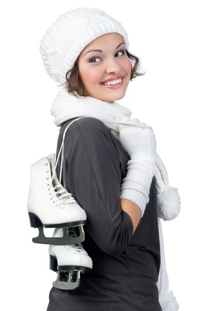 Pretty girl with figure skates on her shoulders Stock Photo - 11432247