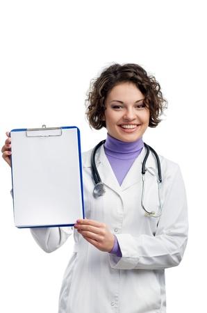 medycyna: Lekarz pokazuje schowka kopia przestrzeń dla tekstu lub projektowania
