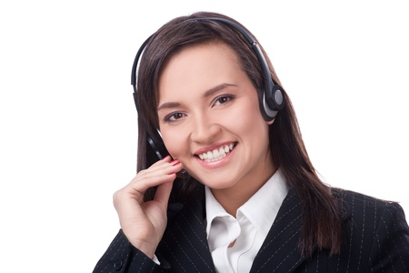Woman Operator of call center with headset photo