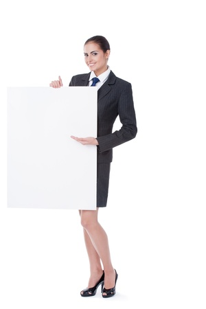 stewardess: young businesswoman pointing on copyspace on white background