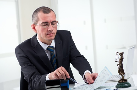 law business: Lawyer or notary public at contemporary office Stock Photo