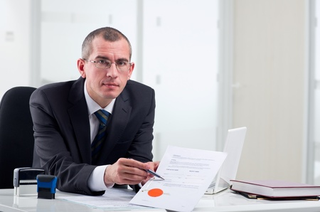 certify: Lawyer or notary public at contemporary office Stock Photo