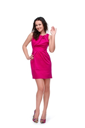 Young pretty girl gesturing hello isolated on white Stock Photo - 12522096