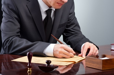 Businessman notarize testament at notary public office Stock Photo - 53034405