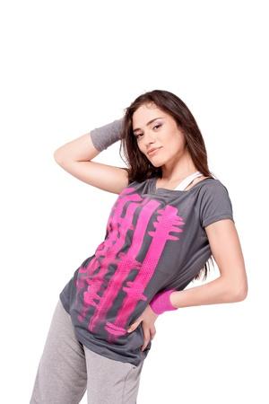 looking into camera: Hip-hop dancer girl posing looking into camera