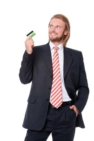 彼の示している実業家のクレジット カードと想像してみてください。