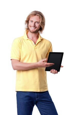 Young man with digital tablet showing on screen photo
