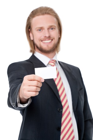 Handsome young businessman greeting with visit card Stock Photo - 13684811