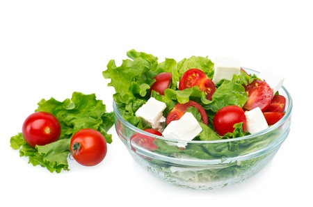 green salad with cherry tomatoes in glass cup Stock Photo - 14255708
