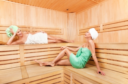 Two young woman relaxing in sauna and laughing