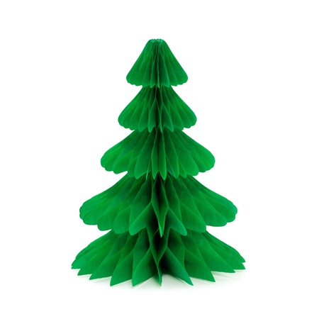 Paper christmas tree without decoration isolated on white photo