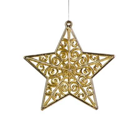 gold stars: golden Christmas star decoration for hanging on tree, isolated on white