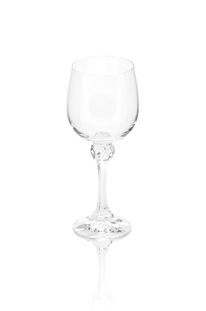 empty  elegant crystal wineglass with reflection, isolated photo