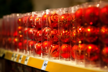 Line of xmas baubles on shelfs in hypermarket Stock Photo - 16463990