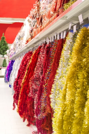 Line of different xmas decor on shelfs in hypermarket Stock Photo - 16463980