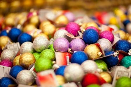 Heap of xmas baubles in hypermarket in sale Stock Photo - 16476727