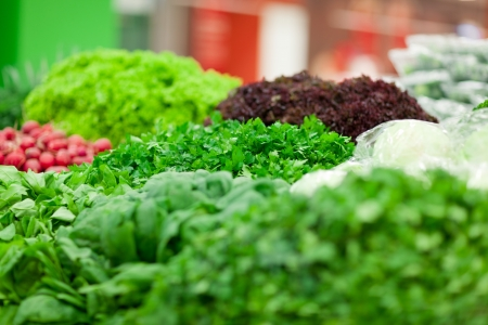 different green vegetables on the supermarket shelf Stock Photo - 18299515