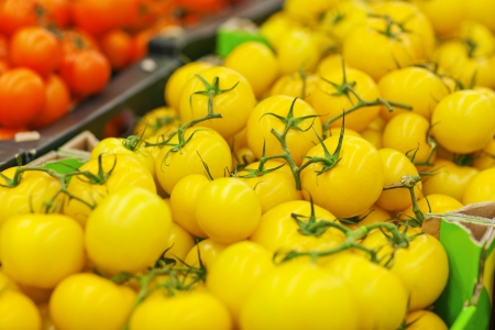 yellow tomatoes on the shelf in the supermarket Stock Photo - 18914956
