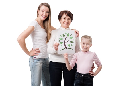 three generation of woman holding symbol of green planet photo