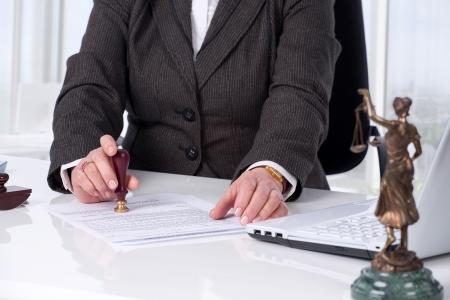 Original de assinatura do notário público no seu local de trabalho