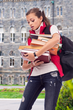 successful woman: Young beautiful girl student holding a lot of books Stock Photo