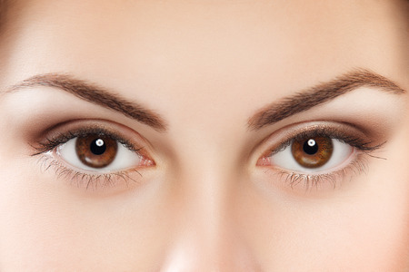 Close up image of female brown eyes photo