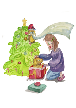 Watercolor illustration of a girl opening gift box with puppy dog. Perfect for Christmas greeting cards Zdjęcie Seryjne