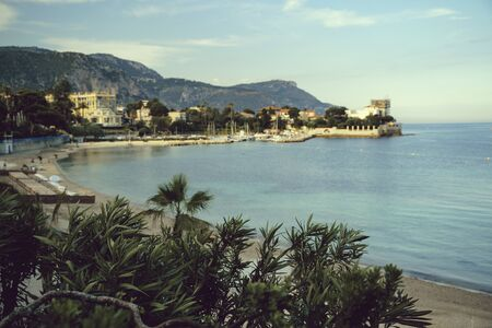 view of luxury resort and bay of Villefranche-sur-Mer, Cote dAzur, french riviera