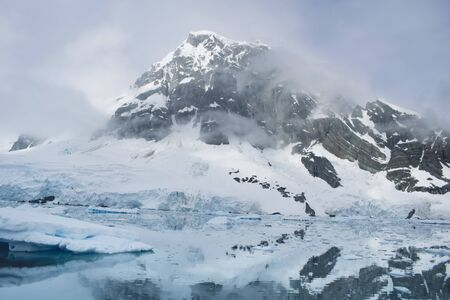 Melting glacier ice at Antarctic peninsula, lake caused by global warming. Beautiful landscape and scenery, Antarctica