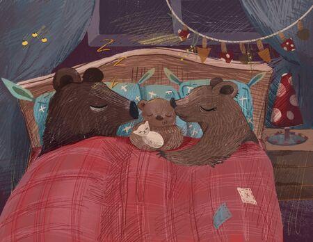 Cartoon animals for kids. Family bears with sleeping little cute baby bear. Digital painting illustration Stock Photo