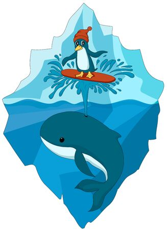 Colorful penguin in hat surfing on whale's spout in the ocean. Iceberg background. Can be used like sticker or printing Illustration