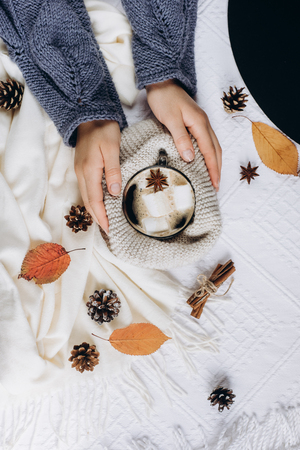 Autumn and Winter composition. Women's hands holding a cup of hot coffee with marshmallows, scarf, cookies, bumps and autumn leaves. Flat lay, top view 免版税图像