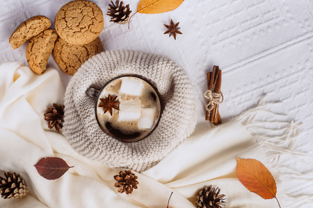Autumn and Winter composition. Hot coffee with marshmallows, scarf, cookies, bumps and autumn leaves. Flat lay, top view Stok Fotoğraf