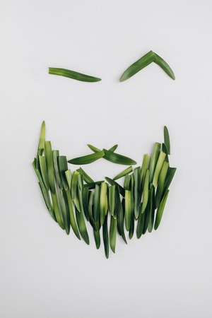 Beard man face made of natural green leaves on bright background. Flat lay, top view, copy space.