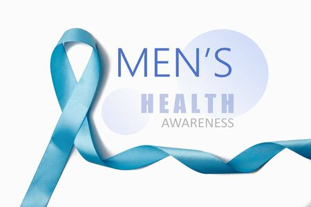 Symbol for support men. Blue ribbon on white background. Healthcare, International men, Father and World cancer day concept. Flat lay, copy space