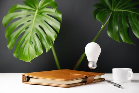 Close up of home office desk table workspace with a notebook, light bulb, pen, cup coffee, green leaf and eyeglasses on red background. Copy space mockup template.