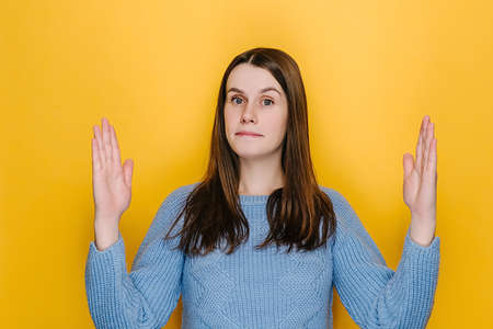Surprised young woman isolated on yellow studio background showing big size gesture with hands, attractive amazed female, impressed brunette girl demonstrate something wide, wears blue sweater