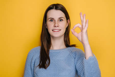 Attractive millennial young woman looking approvingly camera charming smile showing ok okay gesture, dressed in sweater, isolated on yellow studio background. People sincere emotions lifestyle concept