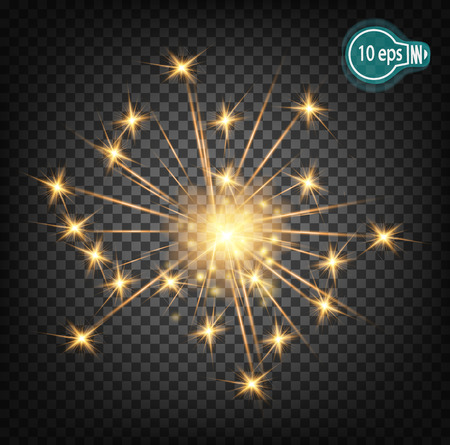 Christmas realistic bengal light effect. Isolated sparkler light vector design elements. Transparent template of glowing sparkler for Xmas Holiday greeting card design. Happy New Year decoration light Illustration