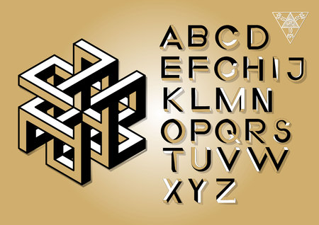 Impossible Geometry letters. Impossible shape font. Low poly 3d characters. Geometric font. Isometric graphics 3d abc. Illustration