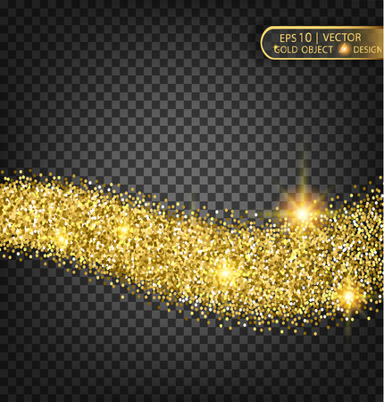 glitz: Vector Festive illustration of falling shiny particles and stars, isolated on a transparent background. Golden shiny confetti. Sparkling texture. Festive decorative tinsel for design. Illustration